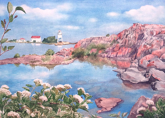 Beautiful Grand Marais Lake Superior watercolor original print