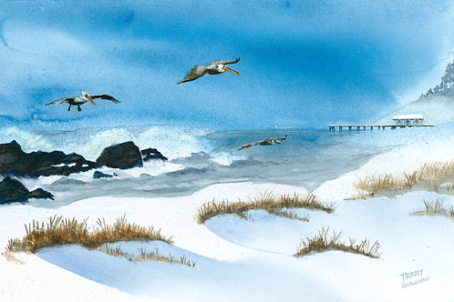 Pelicans over the Snow (Limited Edition Giclée Pri