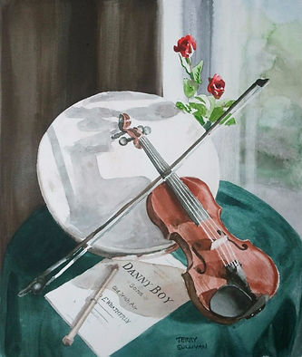 Celtic Irish fiddle Bohrain watercolor print