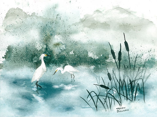 Ethereal flowing watercolor misty pond egrets