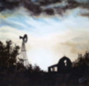 watercolor sunset old barn windmill
