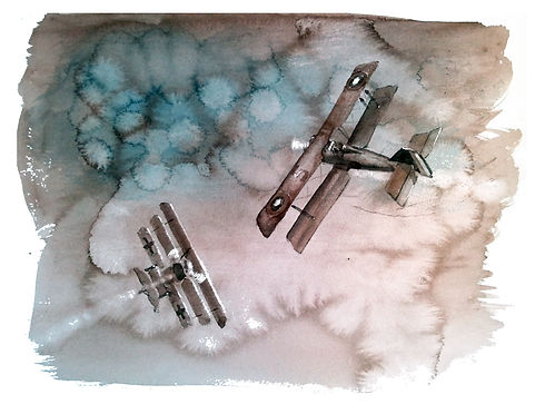 Vintage look watercolor WWI airplane dogfight