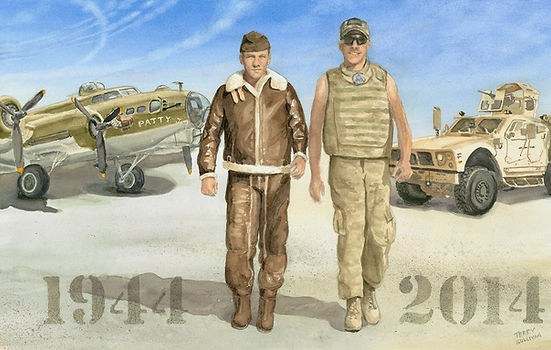Historic SSGT Sullivan watercolor print military