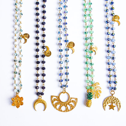 Long Rosary Charm necklaces
