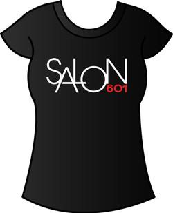 Salon 601 logo design on shirt