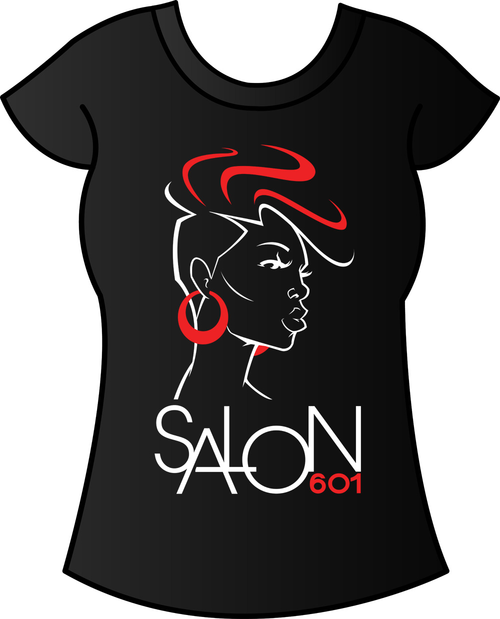 Salon 601 logo design on shirt