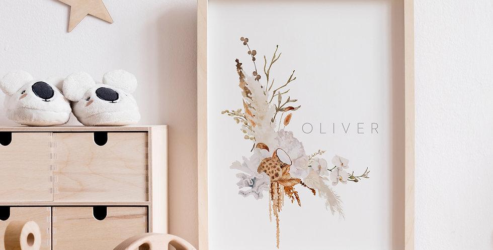 Personalised Bronzed Floral Name Print