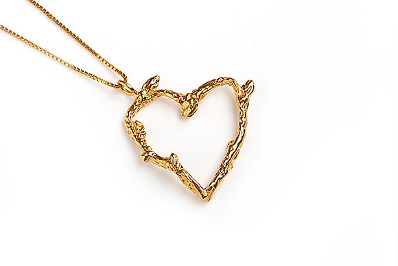 Small Heart Twig Necklace, Gold Plated
