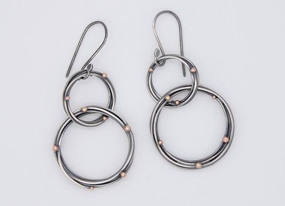 Double halo drop earrings