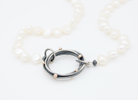 Halo Pendant on White Pearls
