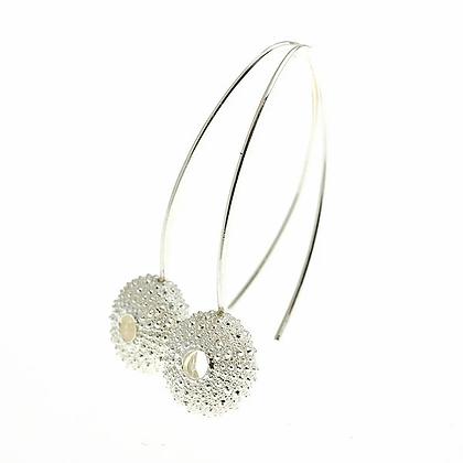 Urchin hook earrings, silver