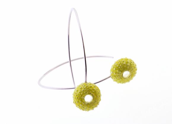 Urchin hook earrings, green enamel