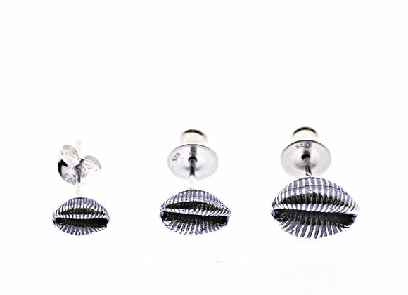 Cowrie Stud Earrings, Oxidised Silver in 3 Sizes