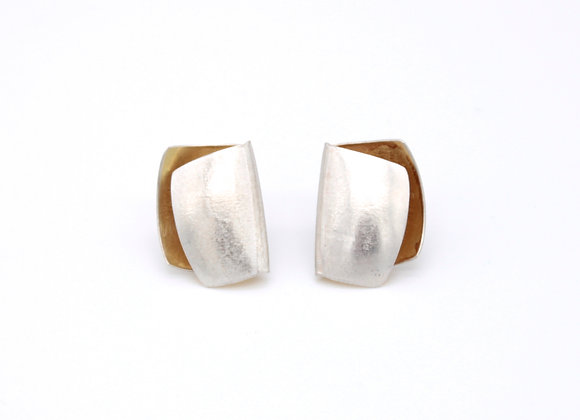 Small Folded Stud Earrings, Silver and 18ct