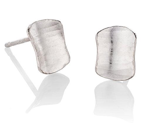 Shield Stud Earrings, Silver
