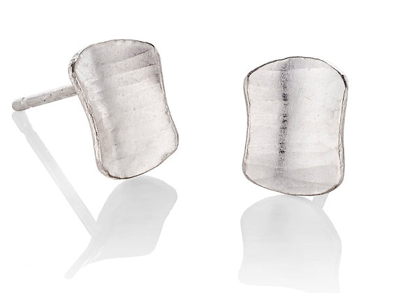 Shield Stud Earrings, silver