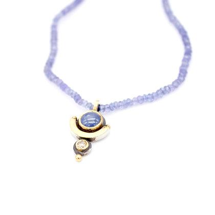 Diamond and Sapphire Pendant on Tanzanite