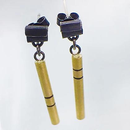 Folded Stud with Brass Drop Earrings