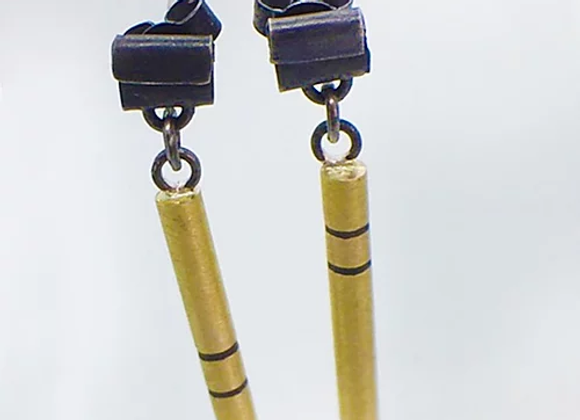Folded Stud with Brass Drop Earrings