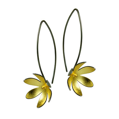 Gold Inlaid Oxidised Silver Daisy Earrings