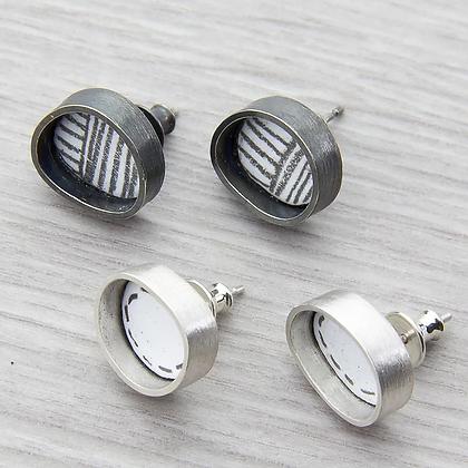 Round Inset Stud Earrings