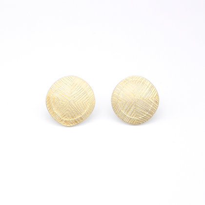 Small Disc Stud Earrings, Scribed 18ct