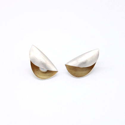 Small Pod Stud Earrings, Silver and 18ct