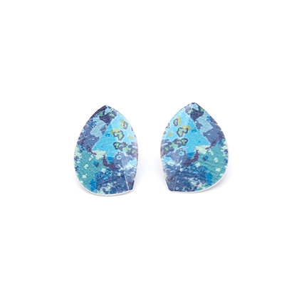 Small Leaf Stud Earrings, Blue