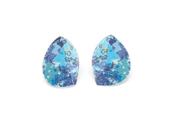 Small Leaf Stud Earrings, Blue