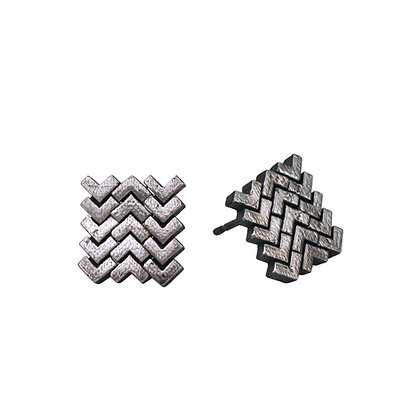Sync Stud Earrings, oxidised silver