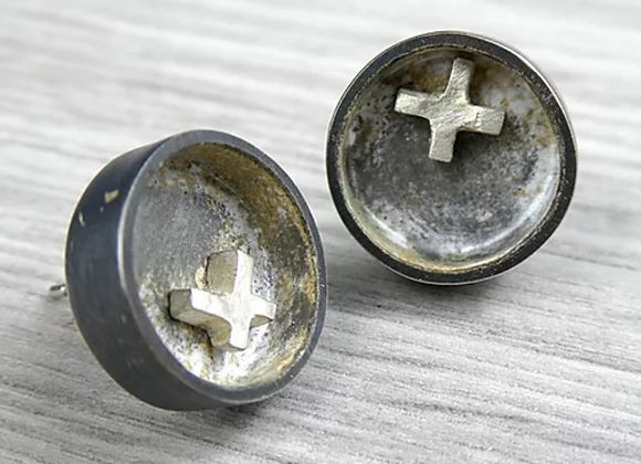 Circle Studs with Cross