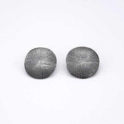 Medium Disc Stud Earrings, Oxidised Silver