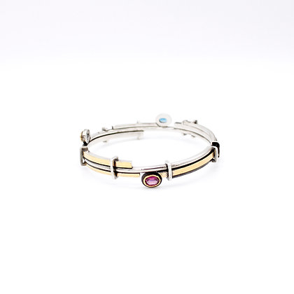 Bangle with Blue and Pink Tourmalines