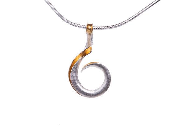 Mini Ammonite Pendant, Silver and GP