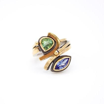 Tourmaline and Tanzanite Ring