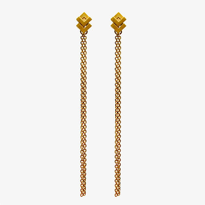 Rhythm Stud Chain Earrings, gold plated