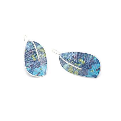 Leaf Drop Earrings on Wires, Blue