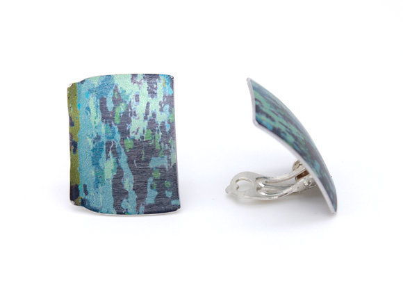 Large Clip On Oblong Stud Earrings, Blue