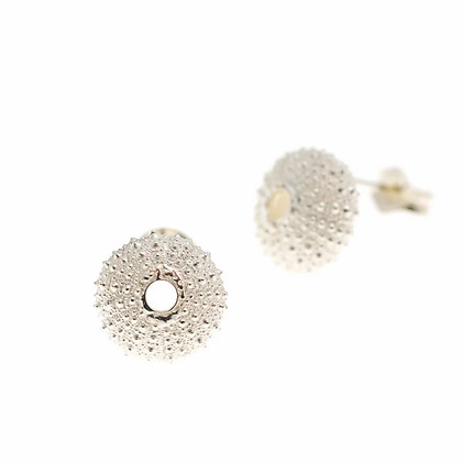 Urchin stud earrings, silver