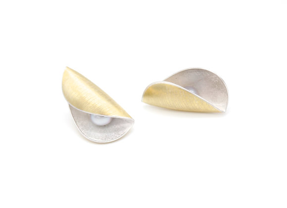 Medium Pod Stud Earrings, Scribed 18ct and Silver
