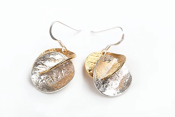 Harmony Drop Earrings, Silver and GP