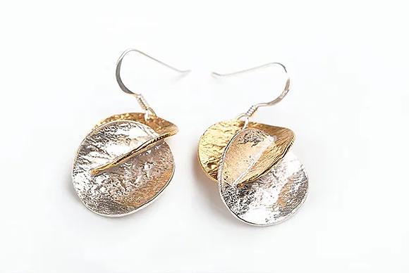 Harmony Drop Earrings, Silver and GP
