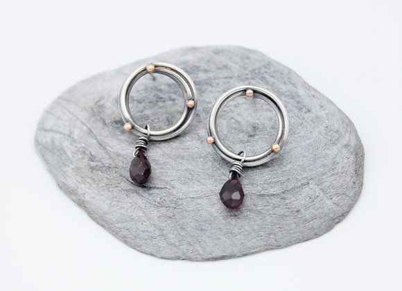 Halo studs with Garnet Drop