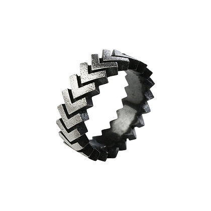 Wide Sync Ring, oxidised silver