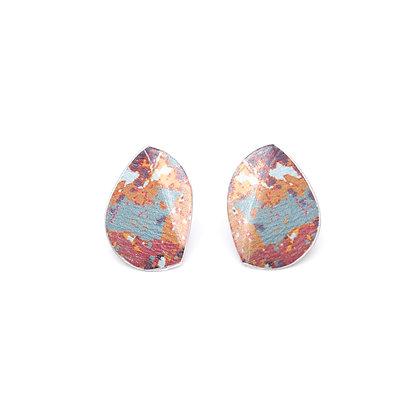 Small Leaf Stud Earrings, Red