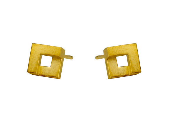 Geom Mini Nugget Stud Earrings, Gold Plated