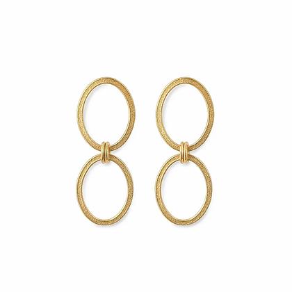 Ellipse Small Double Chain Earrings, GP