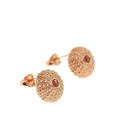 Urchin stud earrings, rose gold plated