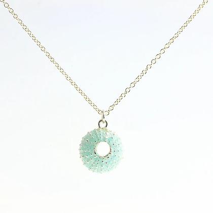 Urchin necklace, blue enamel