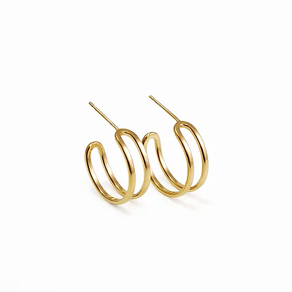 Parallel Curve Hoop Earrings, Gold Plated